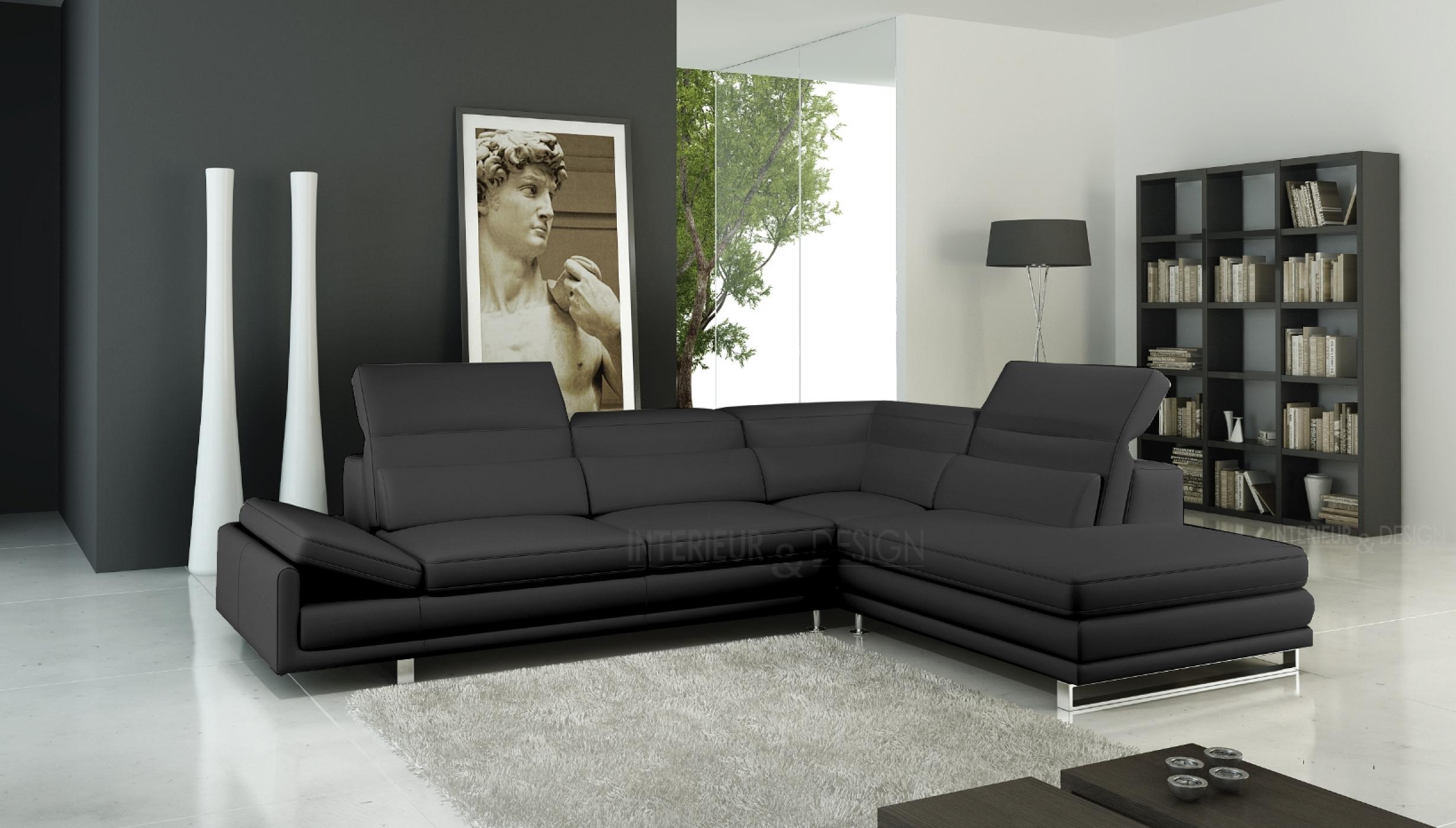 cuir design plan de campagne canap en cuir design et moderne de couleur noir teck in home with. Black Bedroom Furniture Sets. Home Design Ideas