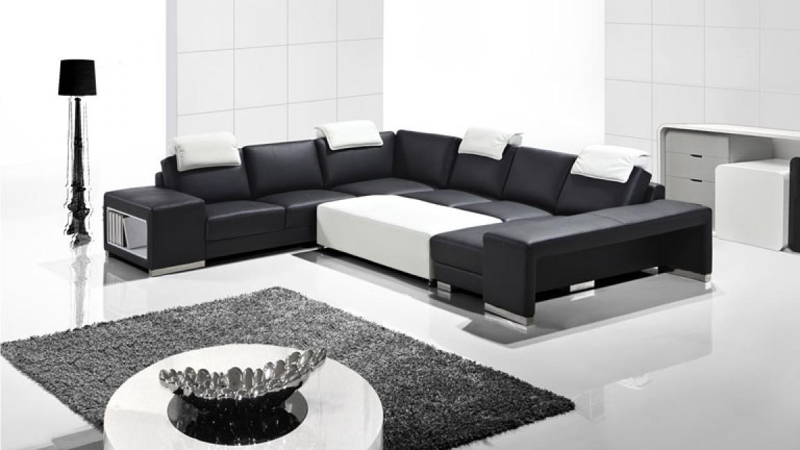 photos canap d 39 angle cuir noir et blanc. Black Bedroom Furniture Sets. Home Design Ideas