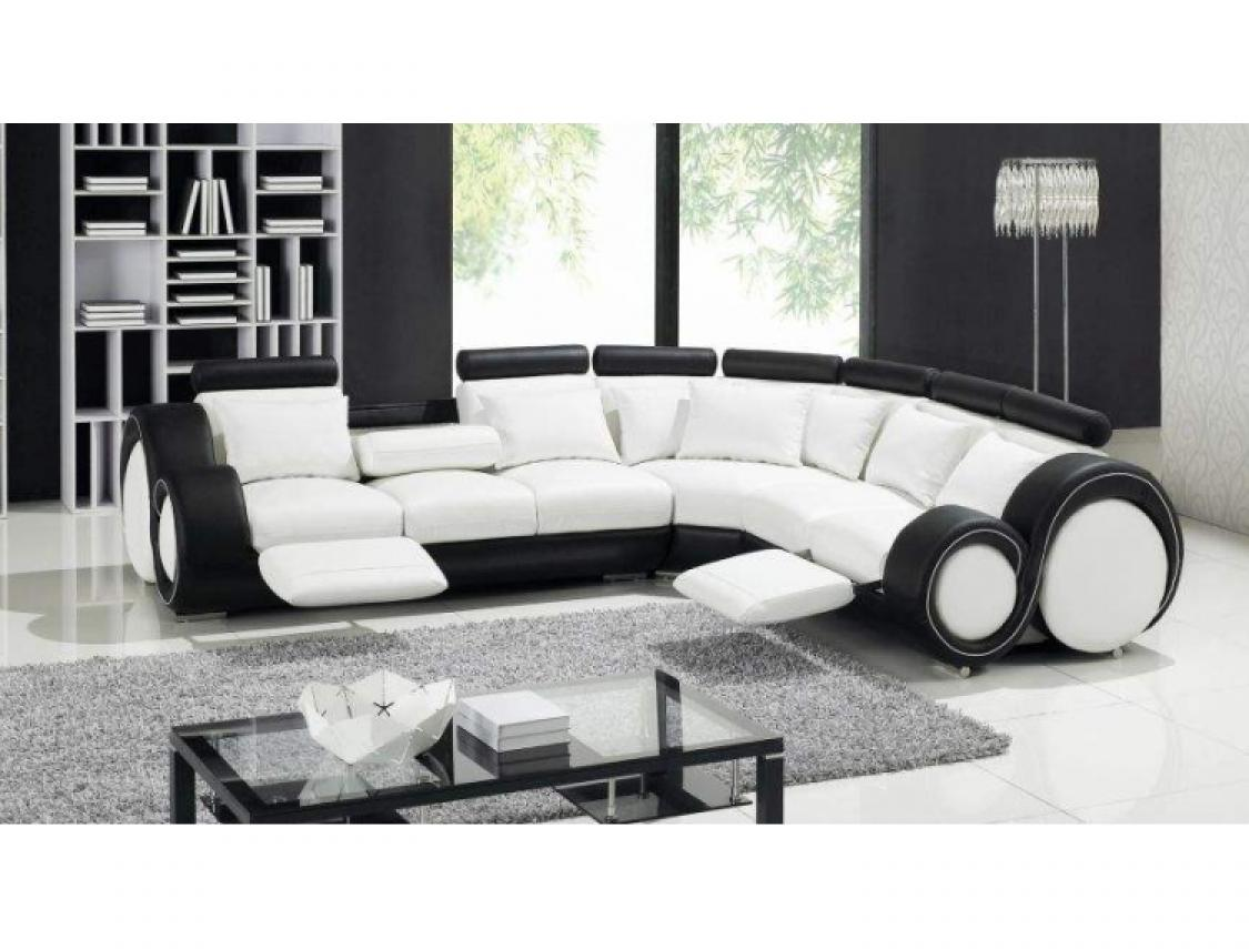 photos canap d 39 angle cuir noir et blanc. Black Bedroom Furniture Sets. Home Design Ideas