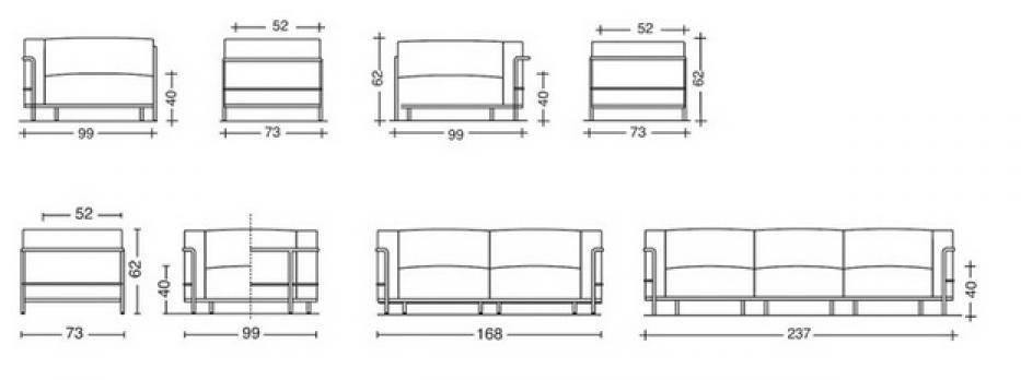 photos canap le corbusier dimension. Black Bedroom Furniture Sets. Home Design Ideas