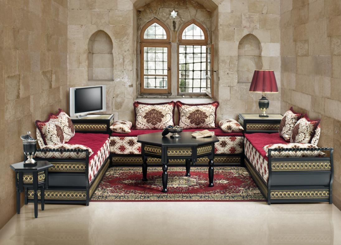 salon marocain velour rouge. Black Bedroom Furniture Sets. Home Design Ideas