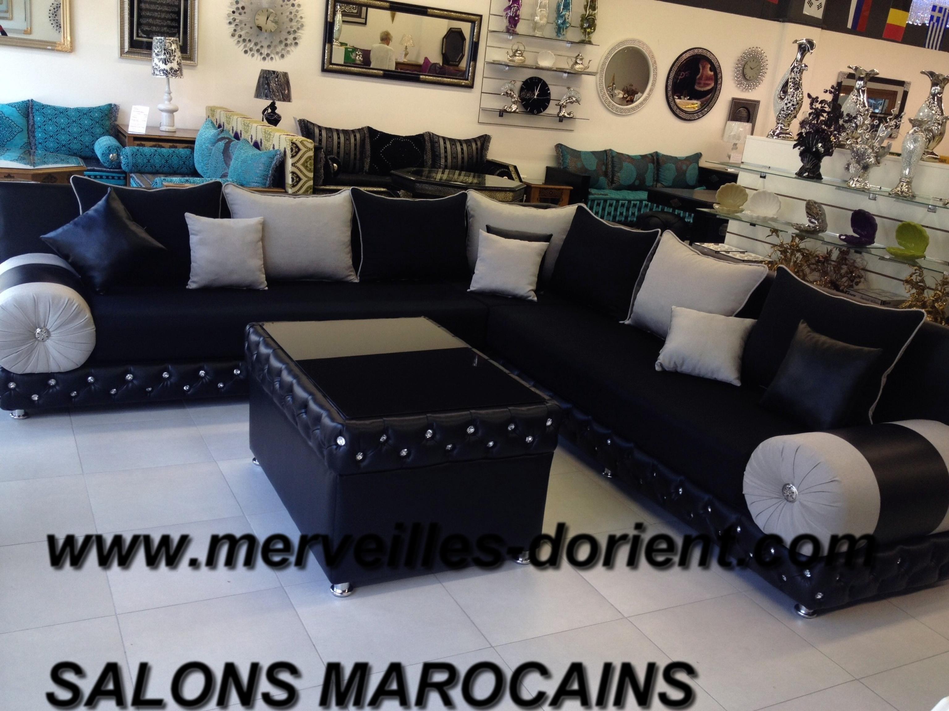 Belle salon marocain noir avec strass id es de design for Meuble marocain montreal