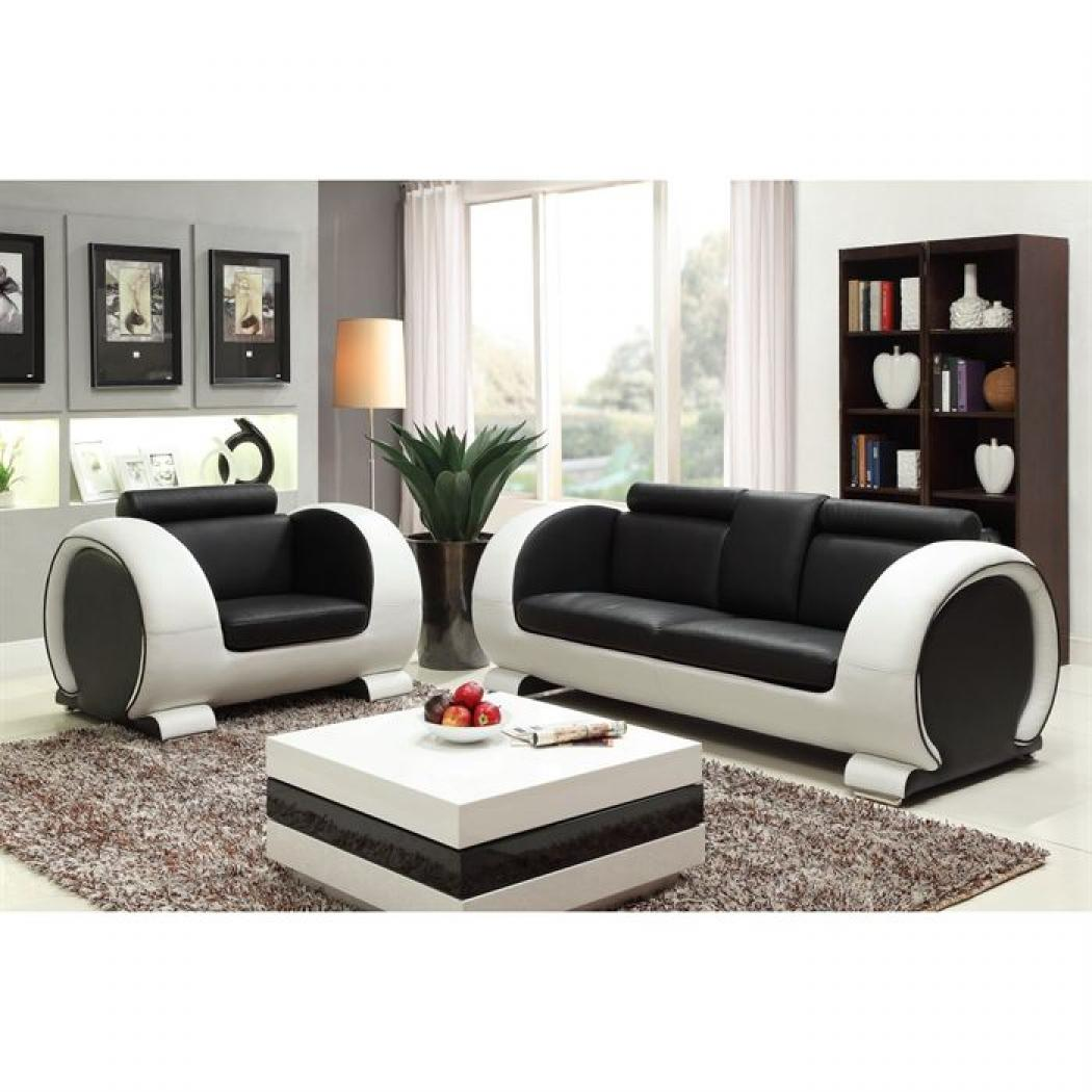 photos canap noir et blanc cuir. Black Bedroom Furniture Sets. Home Design Ideas