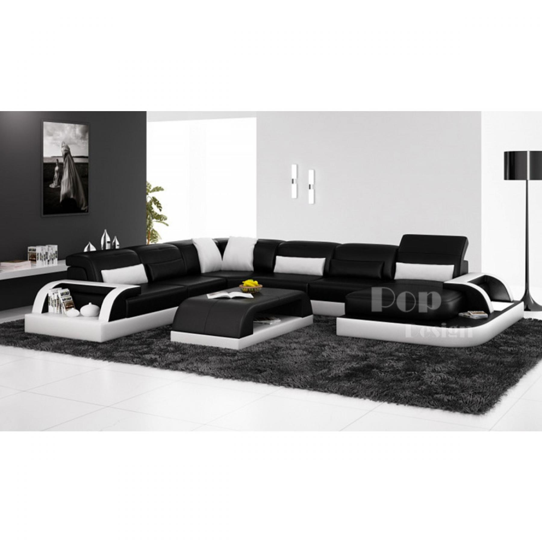 photos canap d 39 angle design noir et blanc. Black Bedroom Furniture Sets. Home Design Ideas