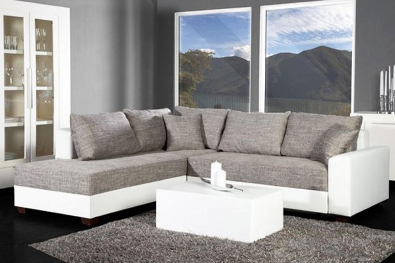 Photos canap d 39 angle design gris et blanc - Canape d angle blanc ...