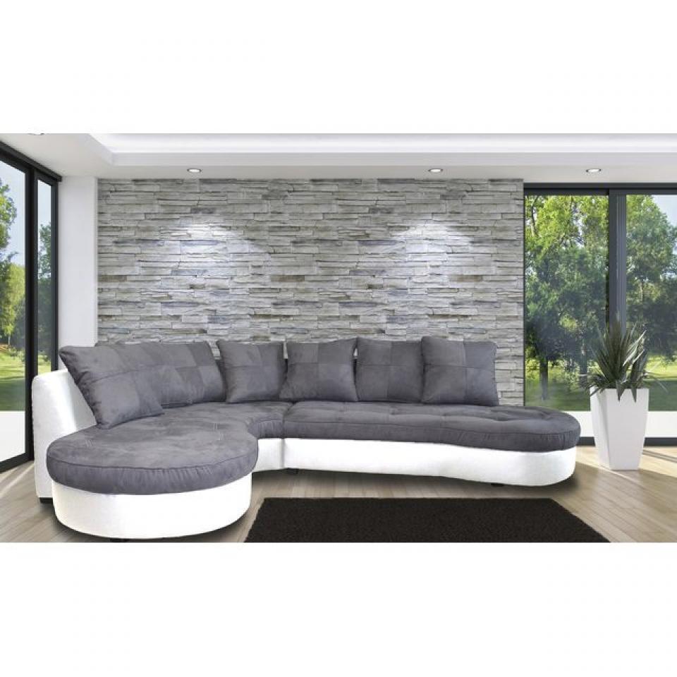 Photos canap d 39 angle gris et blanc - Canape angle gris blanc ...