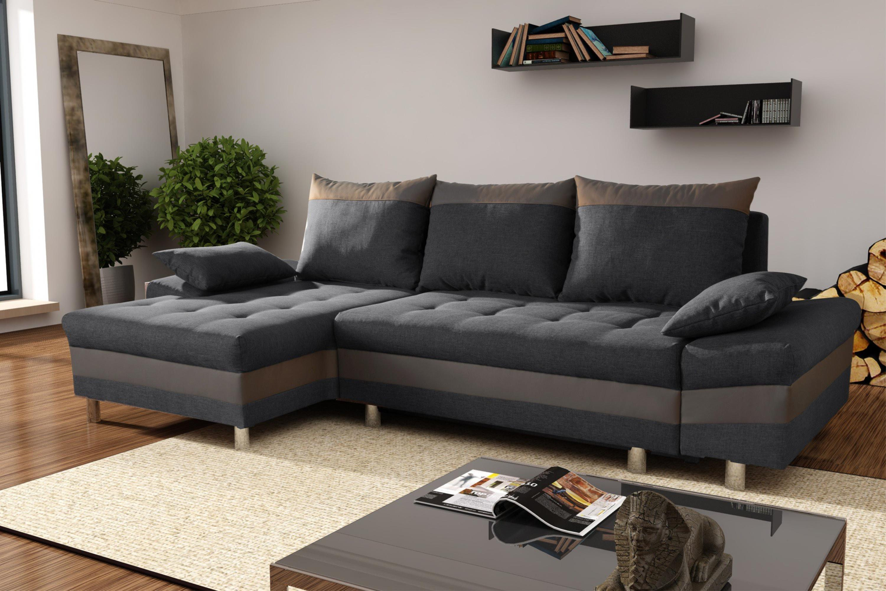 Photos canap d 39 angle tissu gris anthracite - Canape d angle but gris ...