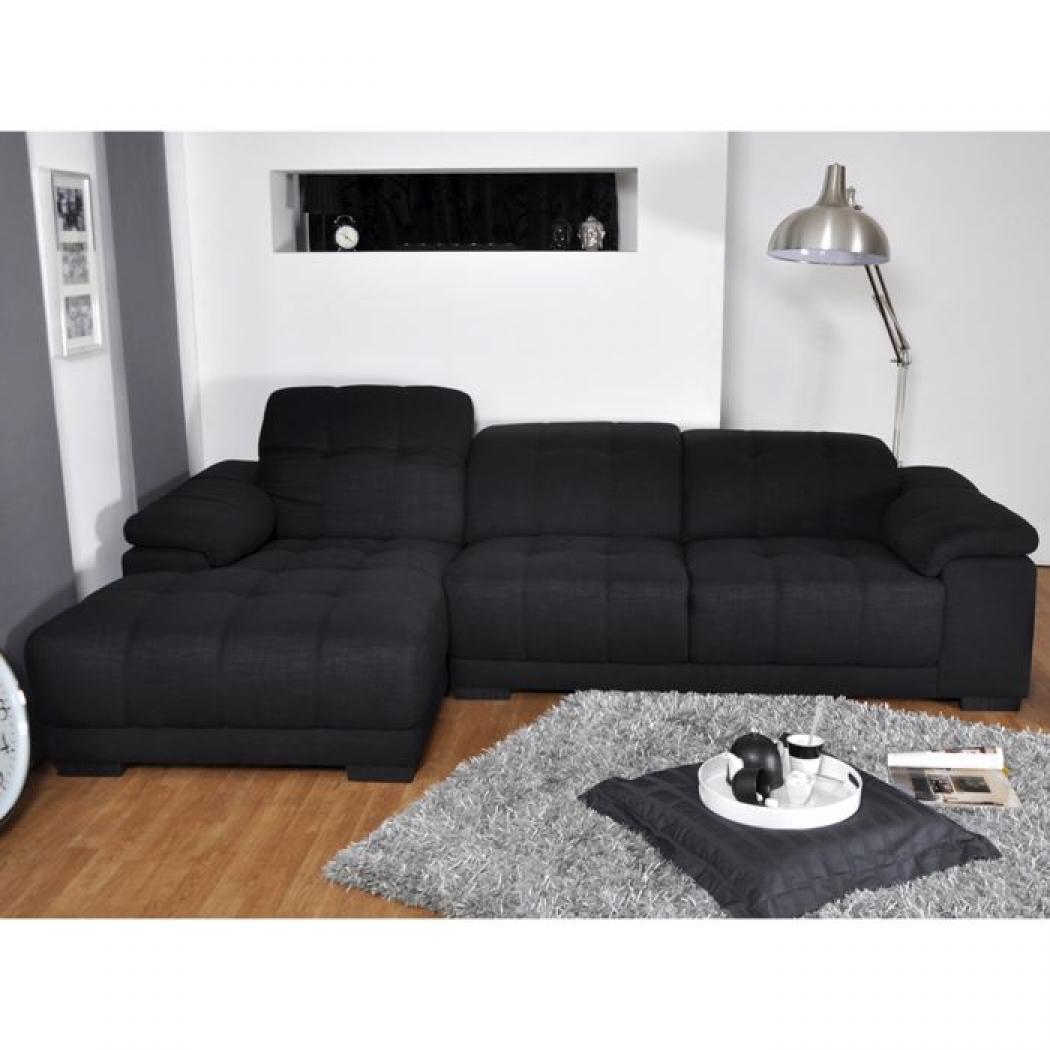 photos canap d 39 angle tissu noir. Black Bedroom Furniture Sets. Home Design Ideas