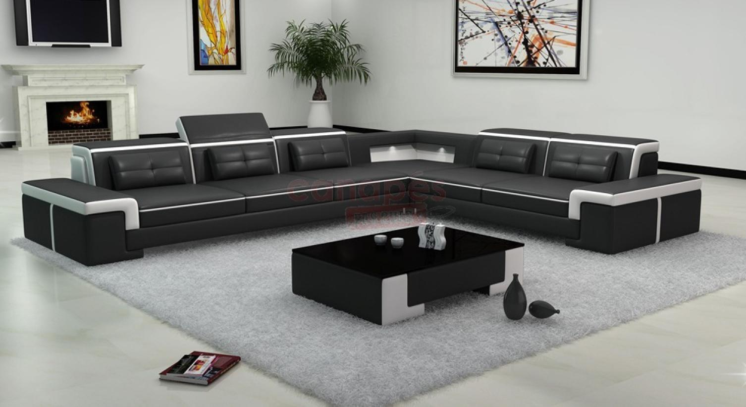 Photos canap design pas cher noir et blanc for Grand canape angle pas cher