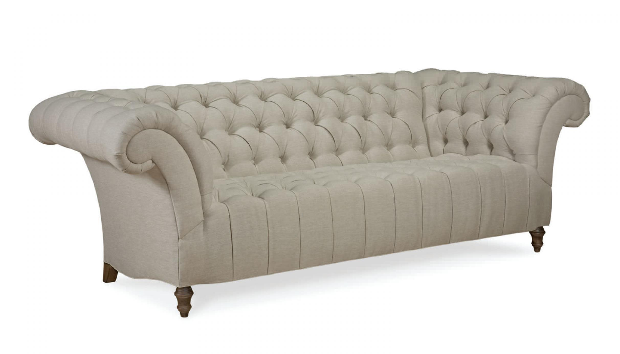 Photos canap chesterfield tissu lin for Canape style anglais