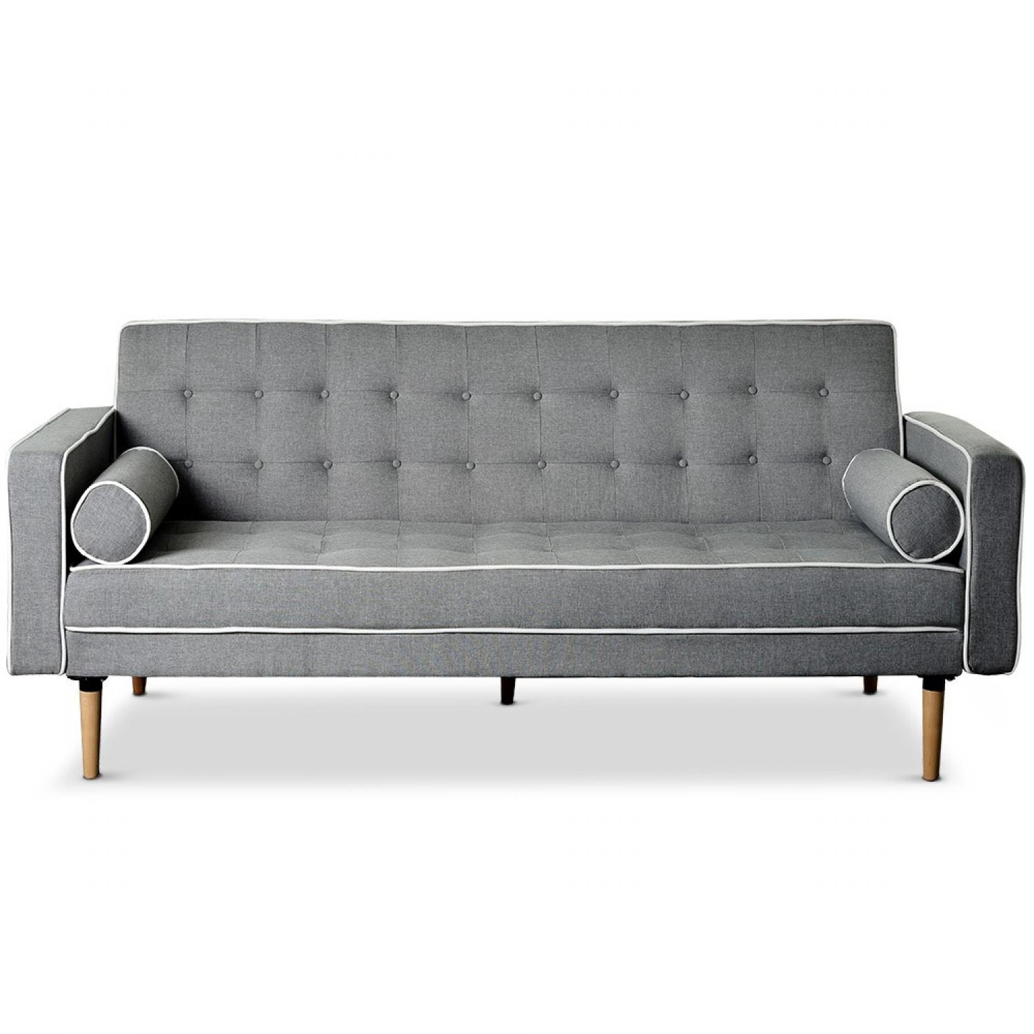 Photos canap chesterfield tissu gris - Canape chesterfield tissu gris ...