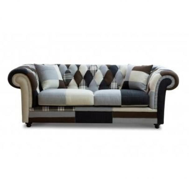 Photos canap chesterfield tissu patchwork for Canape chesterfield tissu gris