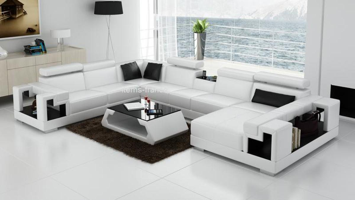 Italian double bed designs for Canape d angle cuir convertible