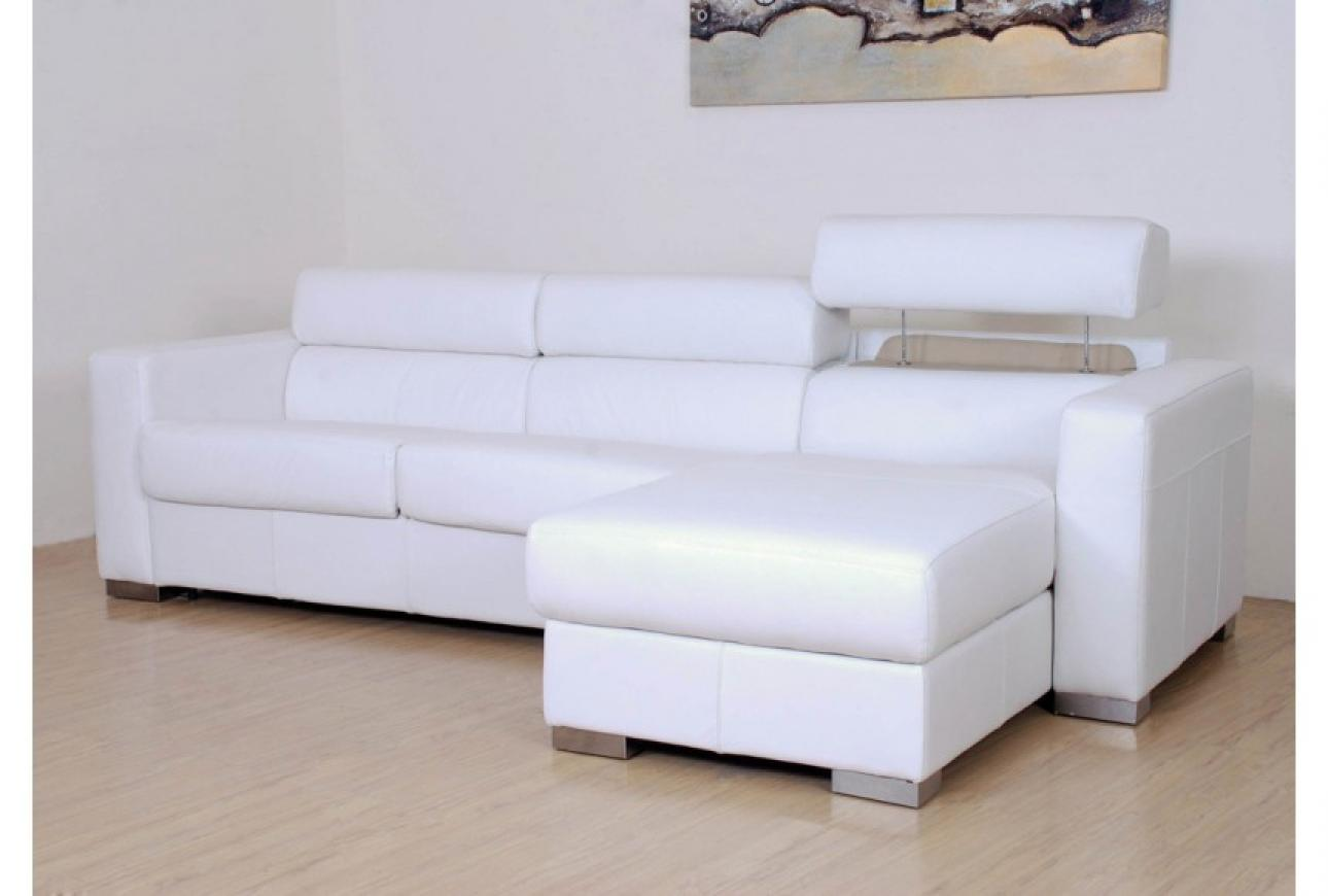 Photos canap d 39 angle convertible cuir blanc for Canape habitat convertible
