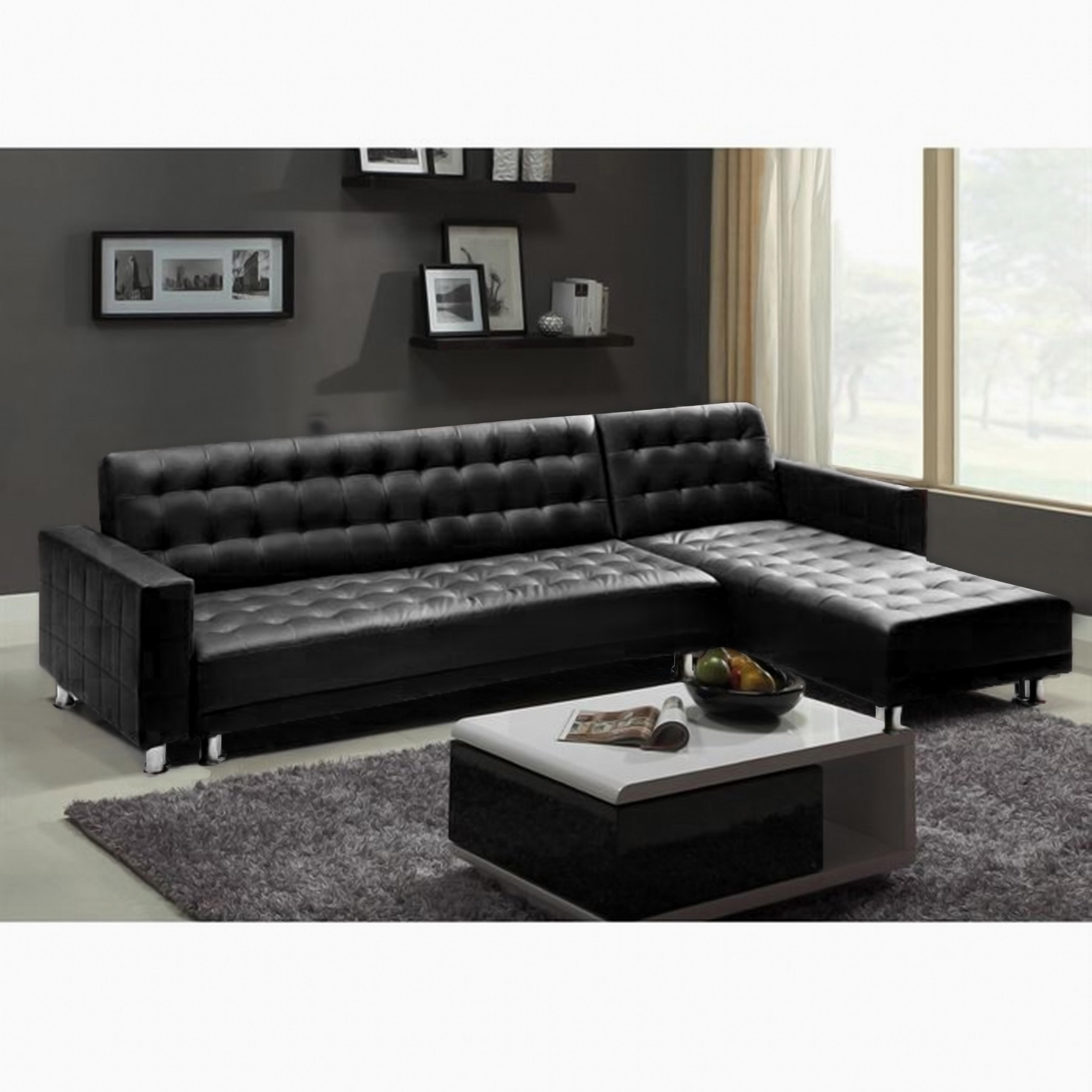photos canap d 39 angle convertible cuir noir pas cher. Black Bedroom Furniture Sets. Home Design Ideas