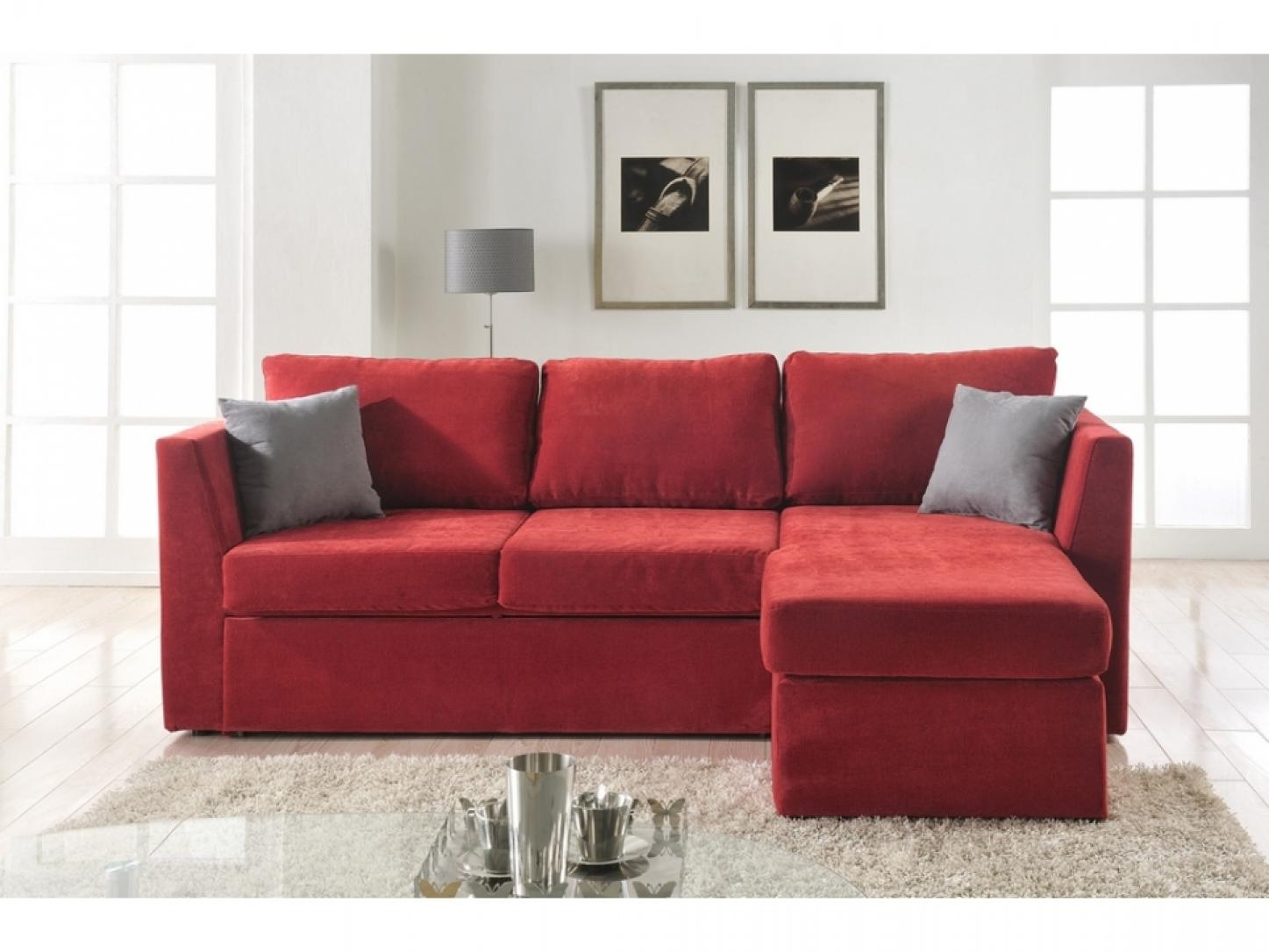 Photos canap d 39 angle convertible tissu rouge - Canape rouge convertible ...