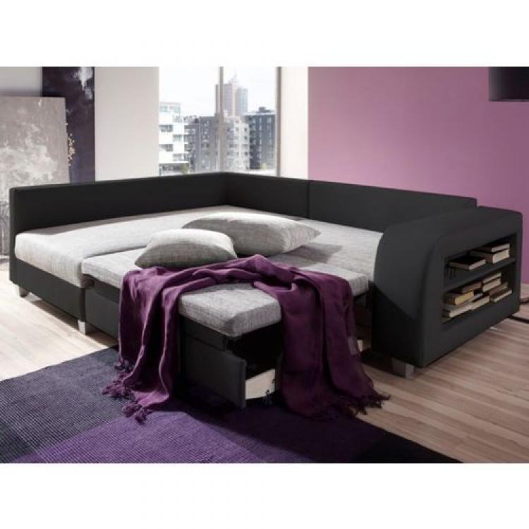 photos canap d 39 angle convertible tissu et simili kuopio gris et noir angle droit. Black Bedroom Furniture Sets. Home Design Ideas