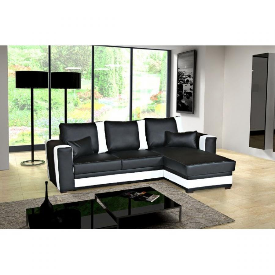 canape d angle convertible noir et blanc maison design. Black Bedroom Furniture Sets. Home Design Ideas