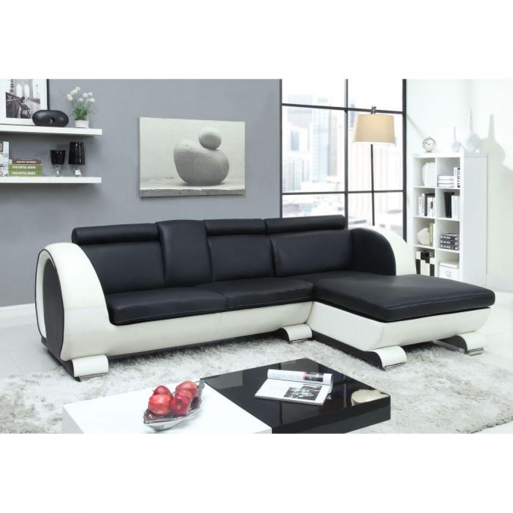 canape d'angle noir et blanc pas cher