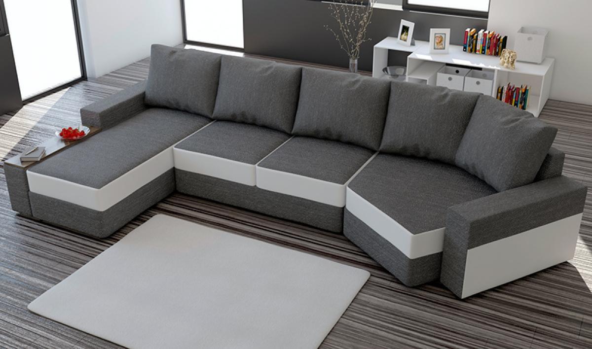 photos canap d 39 angle convertible noir et blanc but. Black Bedroom Furniture Sets. Home Design Ideas
