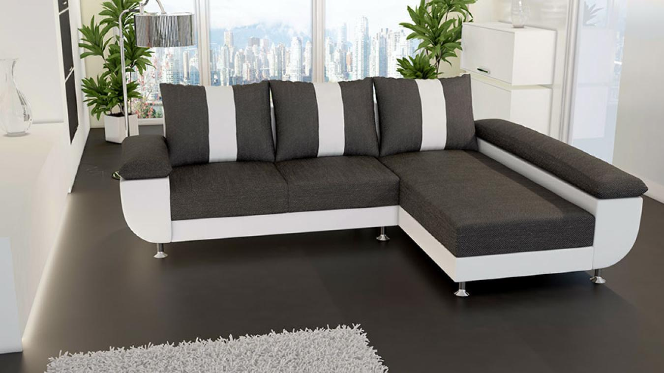 photos canap d 39 angle convertible noir et blanc but. Black Bedroom Furniture Sets. Home Design Ideas