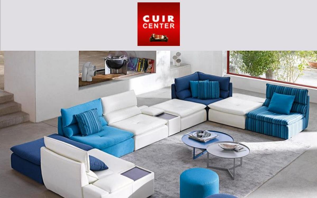 Photos canap modulable cuir center - Cuir center roche bobois ...