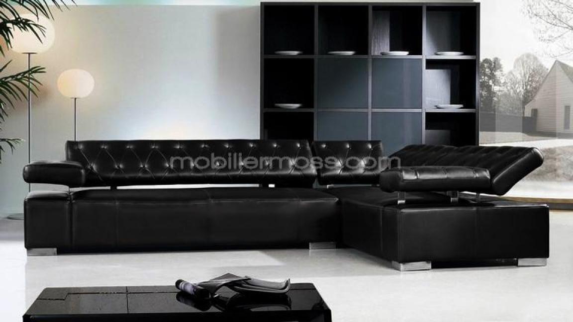 Photos canap d 39 angle cuir noir design - Canape cuir noir design ...