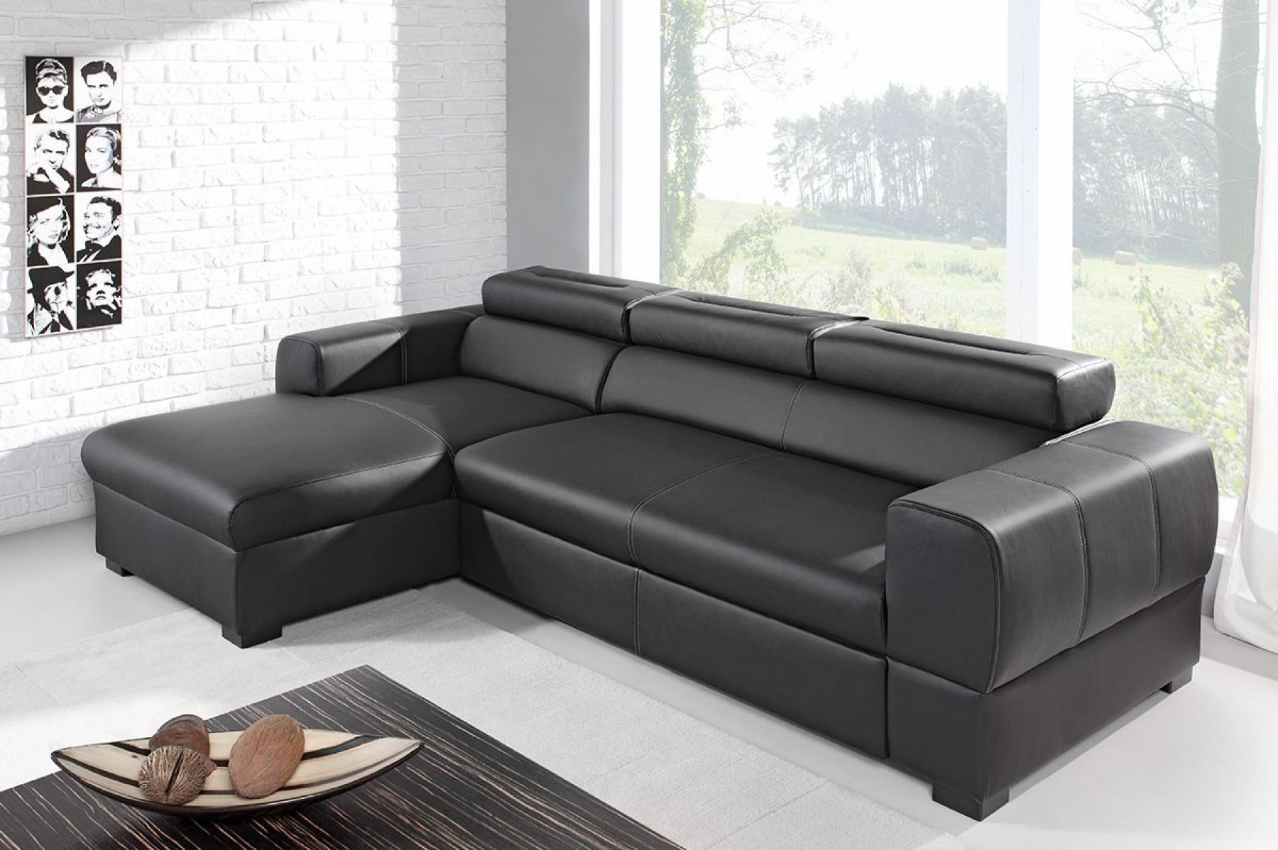 photos canap d 39 angle cuir noir convertible. Black Bedroom Furniture Sets. Home Design Ideas