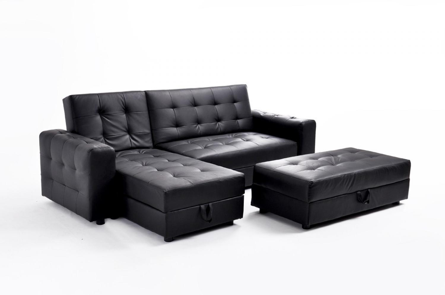 photos canap d 39 angle cuir noir convertible. Black Bedroom Furniture Sets. Home Design Ideas