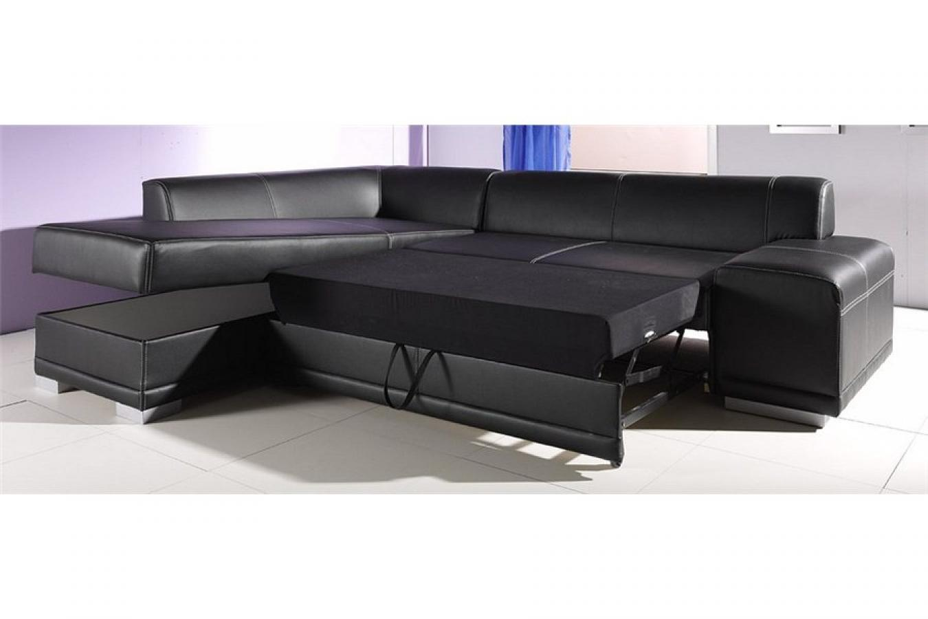 Photos canap d 39 angle cuir noir convertible Canape d angle but