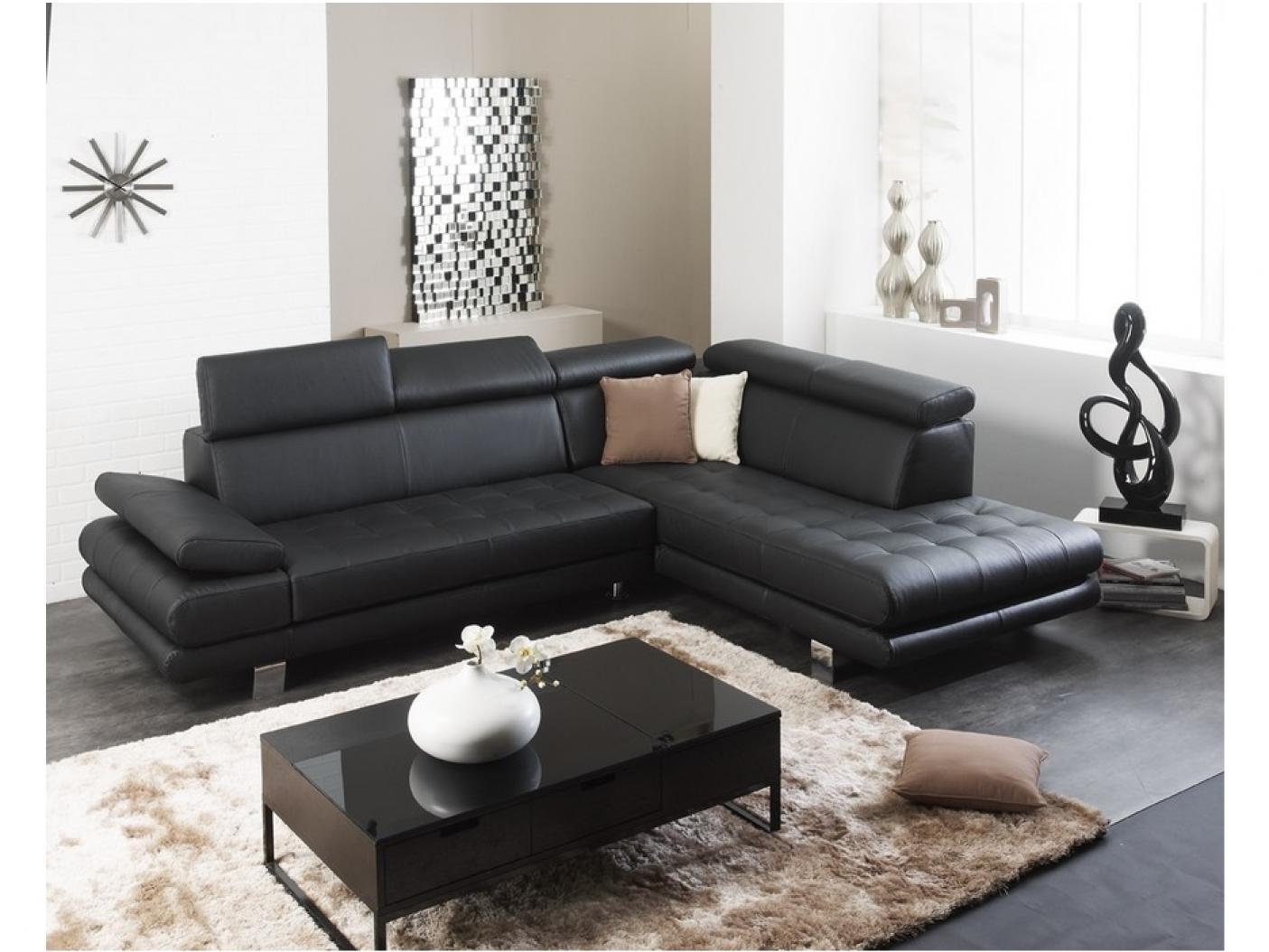 photos canap d 39 angle cuir noir pas cher. Black Bedroom Furniture Sets. Home Design Ideas