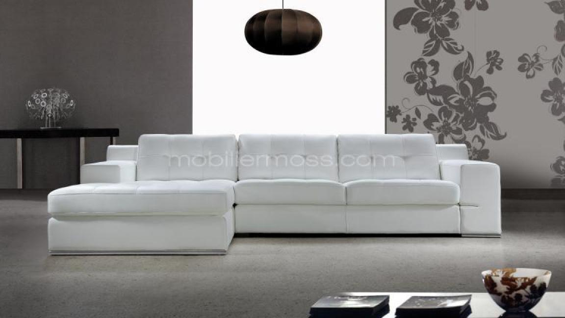 Photos canap d 39 angle cuir blanc design - Canape angle cuir but ...