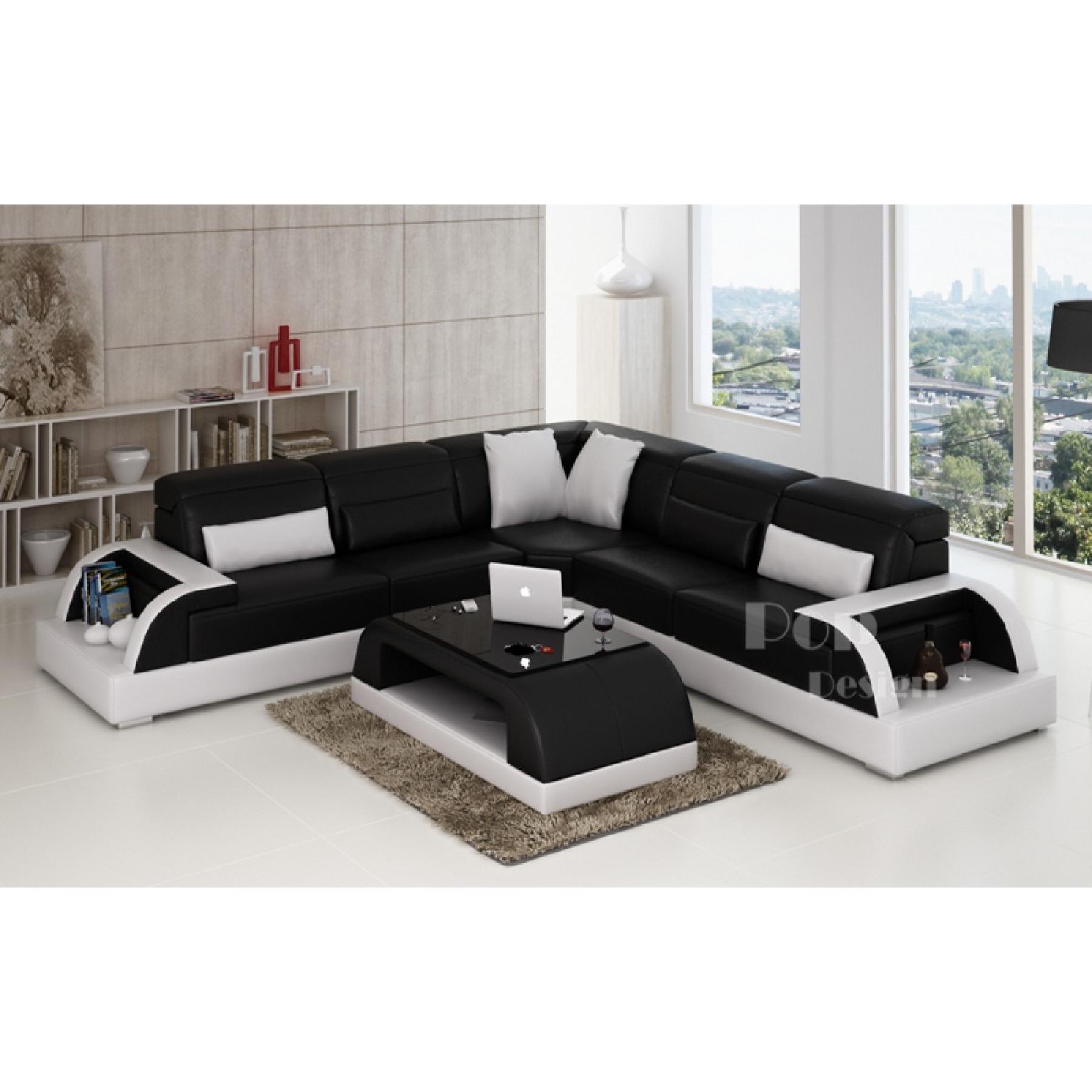 Photos canap d 39 angle cuir blanc et noir for Canape noir et blanc