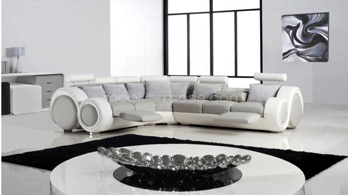 Photos canap d 39 angle cuir blanc italien - Canape cuir blanc angle ...