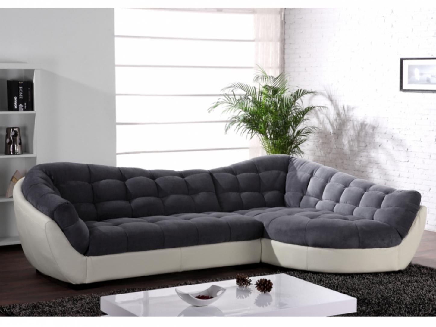 canap d angle tissu gris et blanc