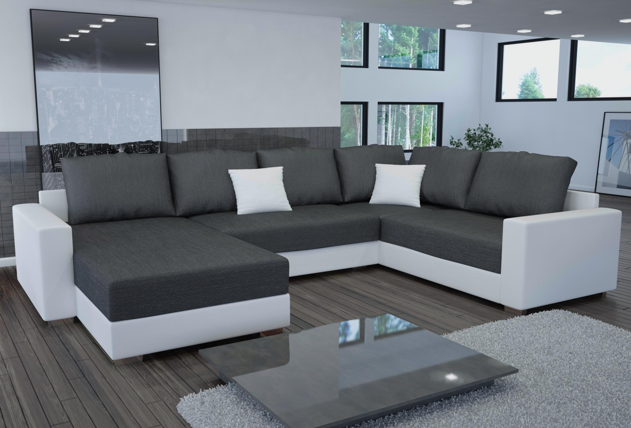 photos canap d 39 angle tissu gris et blanc. Black Bedroom Furniture Sets. Home Design Ideas