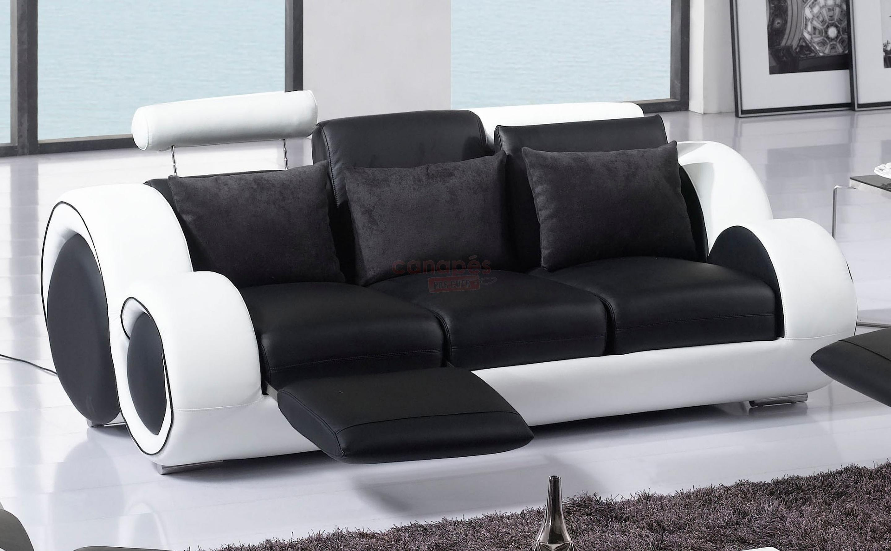 Photos canap convertible cuir 3 places pas cher for Canape 5 place convertible