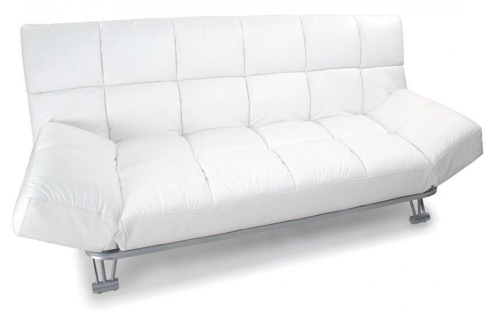 Photos canap convertible cuir blanc 3 places manhattan - Banquette cuir blanc ...