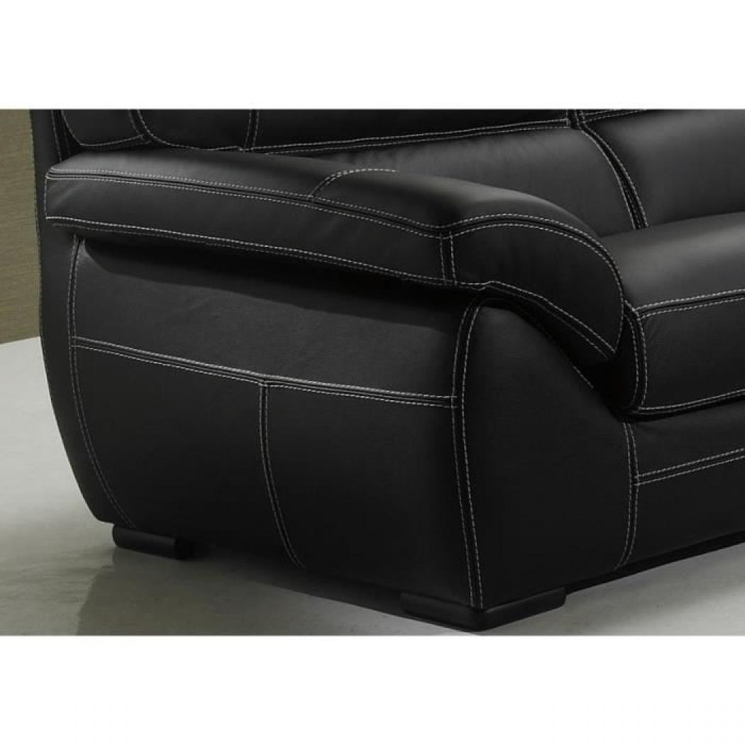 Photos canap convertible cuir noir 3 places for Canape noir cuir