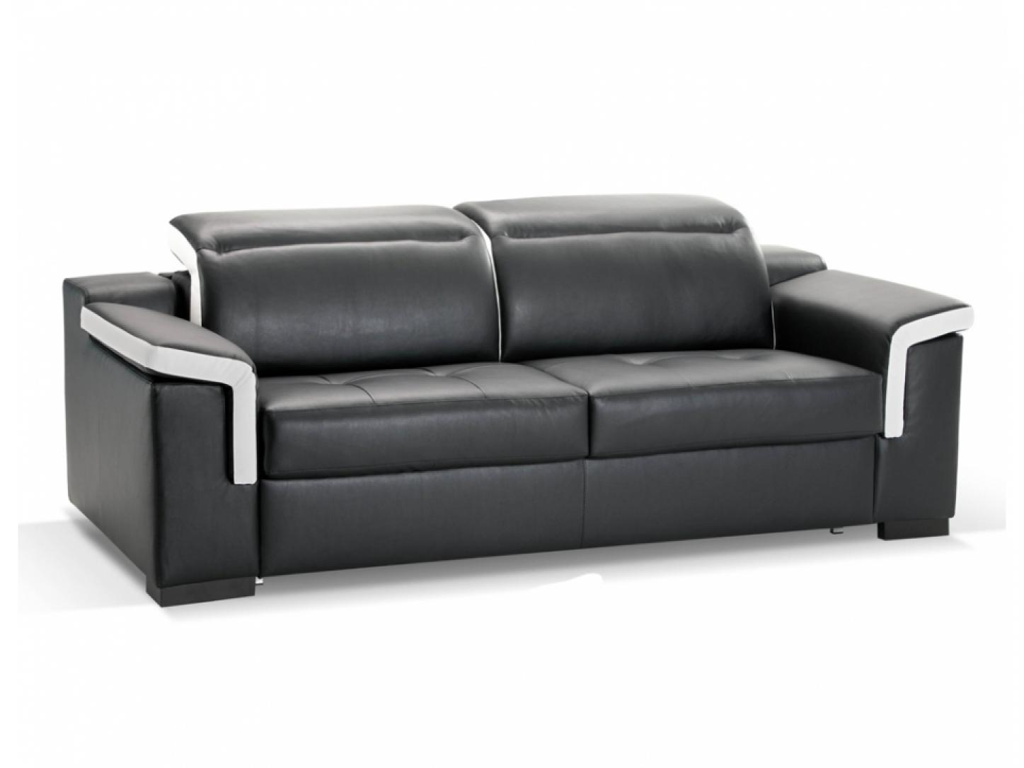 Photos canap convertible cuir noir 3 places - Canape 7 places convertible ...