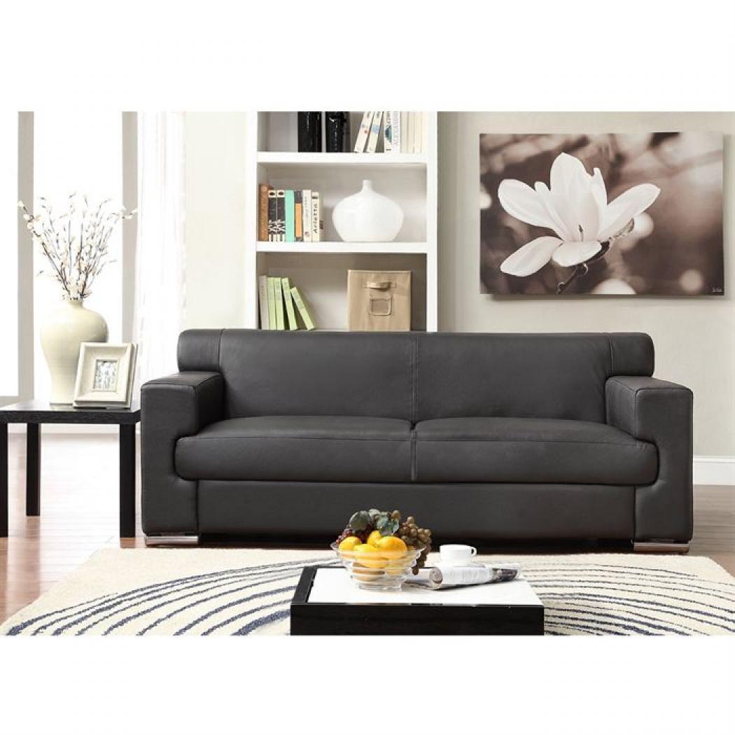 photos canap convertible cuir noir 3 places. Black Bedroom Furniture Sets. Home Design Ideas