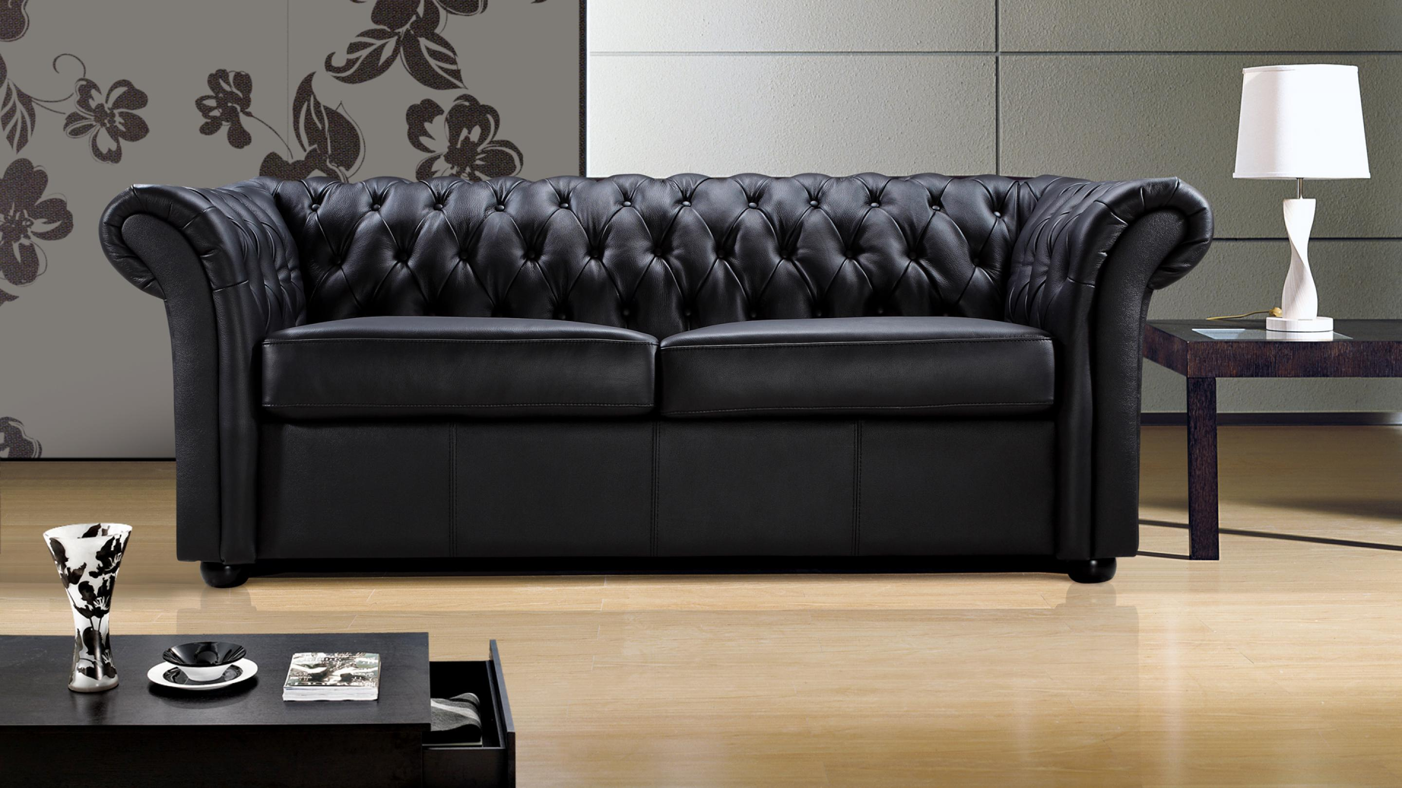 photos canap chesterfield cuir noir 3 places. Black Bedroom Furniture Sets. Home Design Ideas