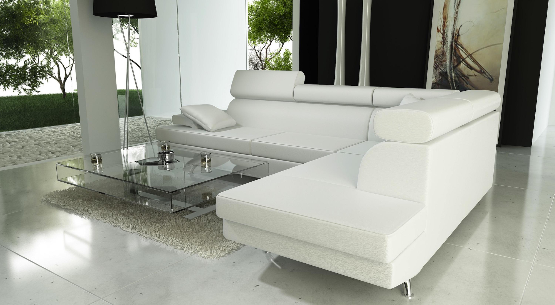 photos canap angle cuir blanc. Black Bedroom Furniture Sets. Home Design Ideas