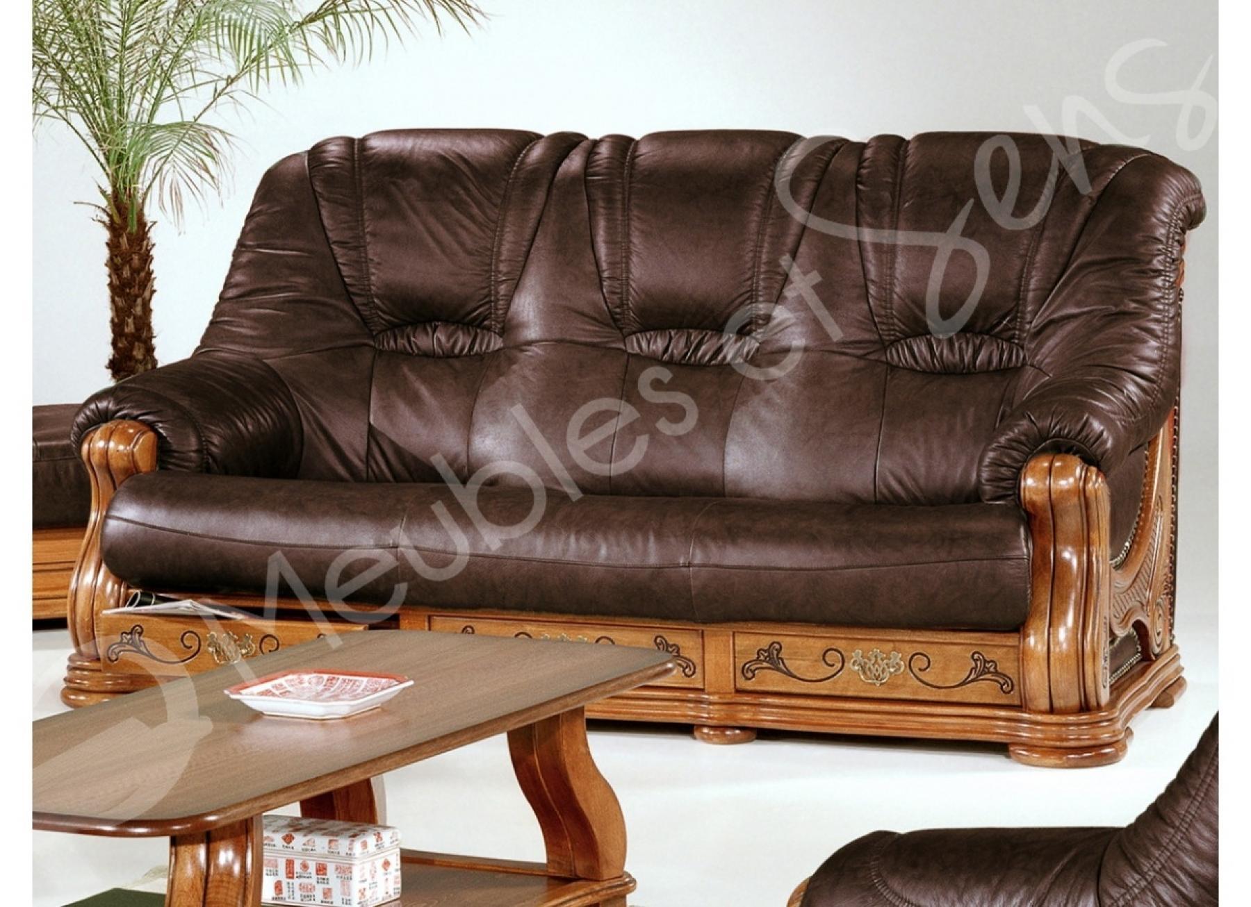 Photos canap bois massif - Salon cuir et bois ...