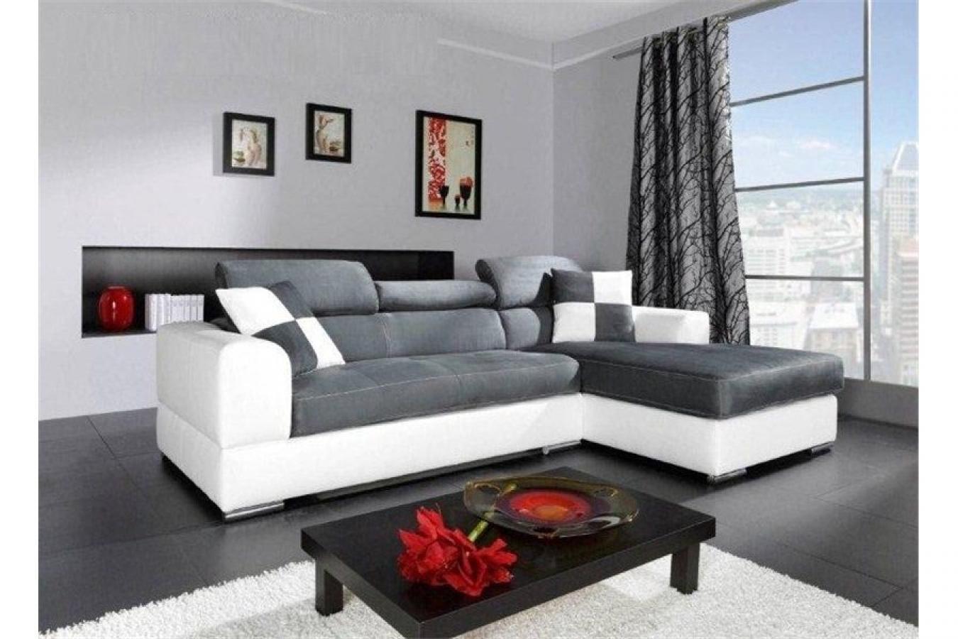 photos canap blanc et gris cuir. Black Bedroom Furniture Sets. Home Design Ideas
