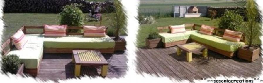 Photos canap en bois de palette for Comment fabriquer un salon de jardin en bois